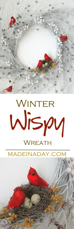 Learn to make this beautiful Snow flocked Winter Red Cardinal Wreath.  Change a natural wispy wreath into a winter snow covered version with spray snow!