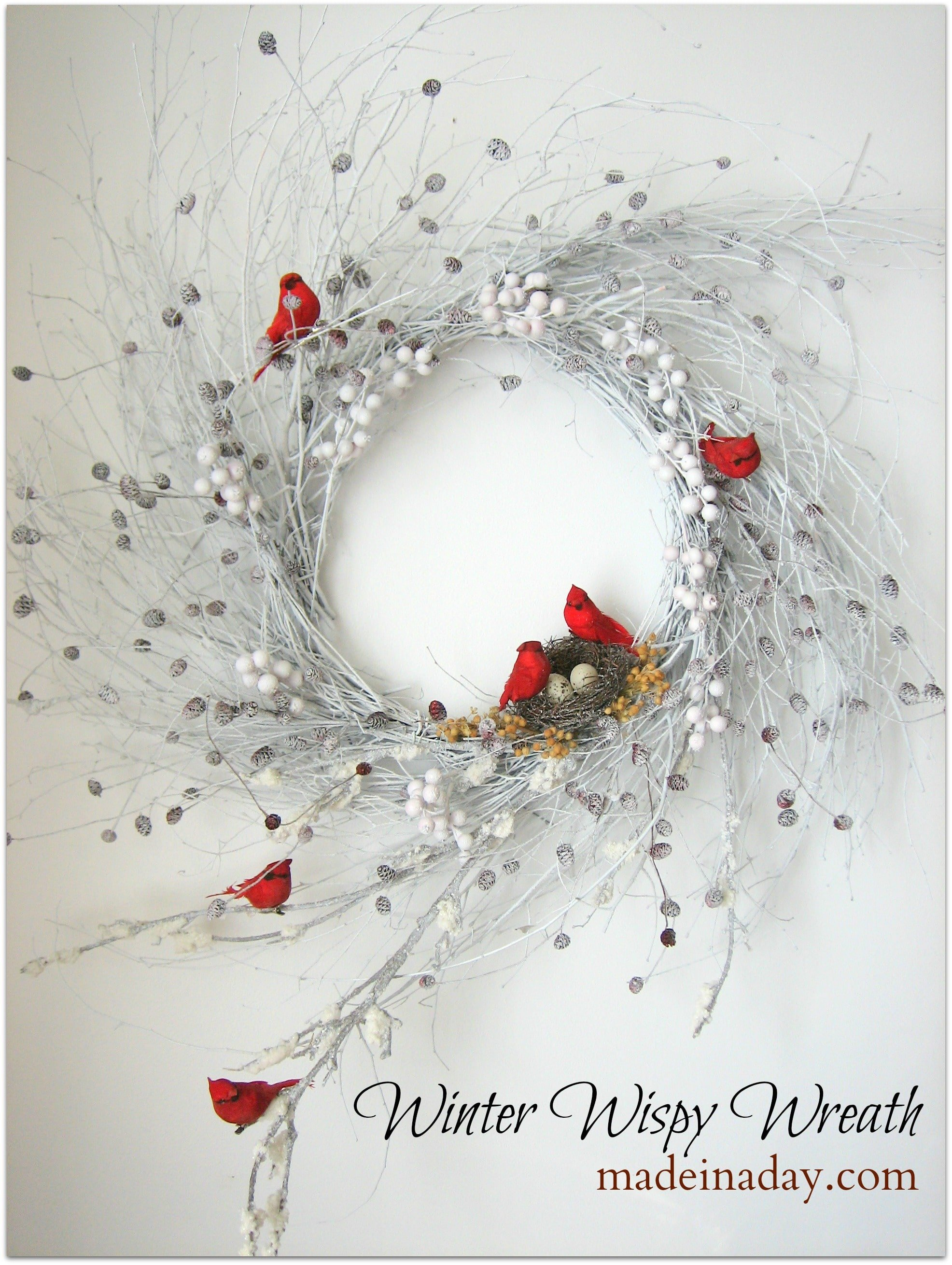 White Wispy Winter Wreath with Cardinals