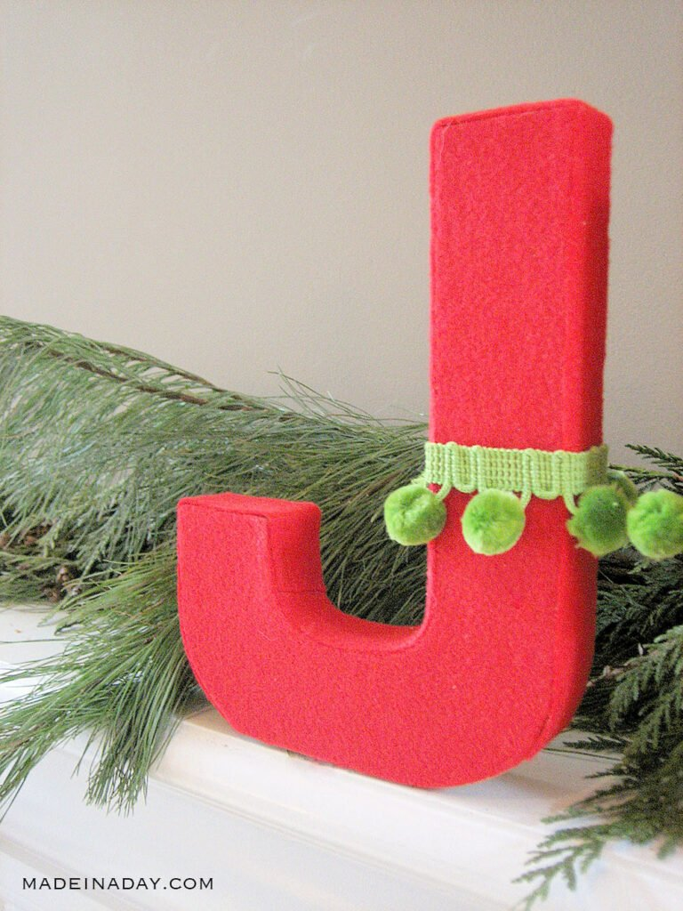 fabric covered letters for Christmas