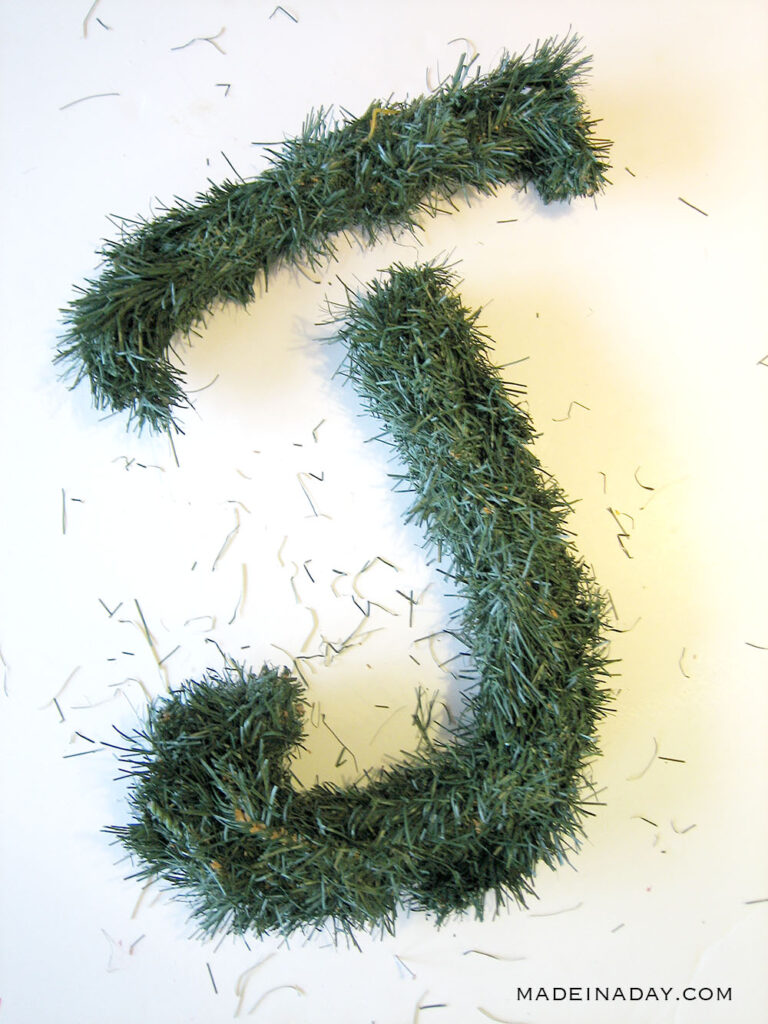 evergreen letters from a wreath