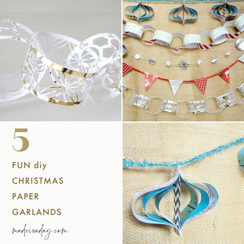 5 Easy Christmas Paper Garland Ideas