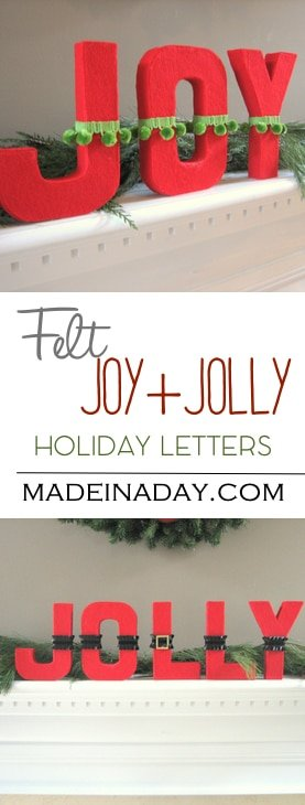 DIY Decoupaged Felt Jolly or Joy letters, cover cardboard letters with felt for a fun holiday sign,