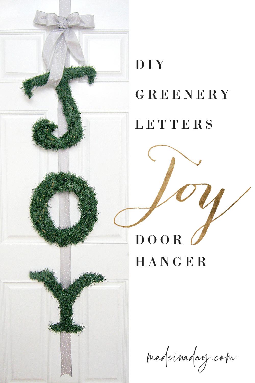 DIY Joy Greenery Letters Door Hangers