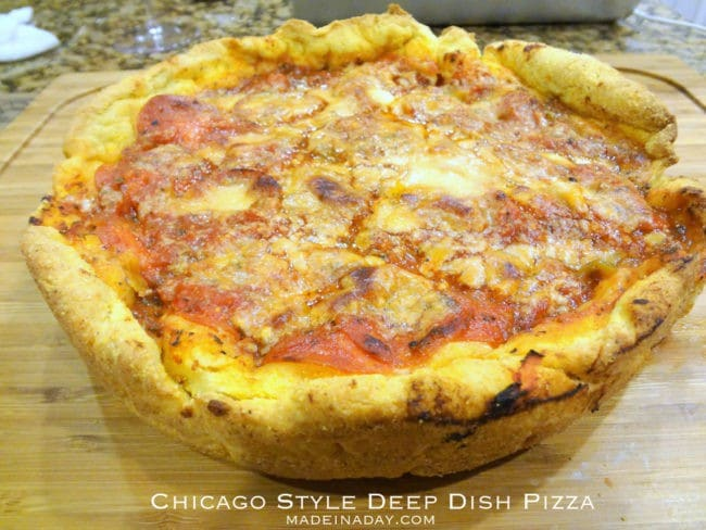 Chicago Style Deep Dish Pizza Recipe madeinaday.com