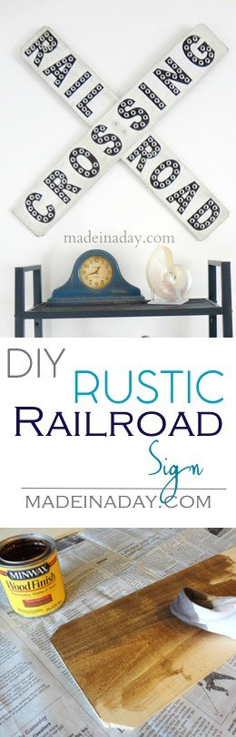 Rustic Railroad Sign, Looking for one of a kind home decor? Learn to make this rustic version of a railroad sign for your man cave or kids room! Silhouette Cameo project, chalk paint