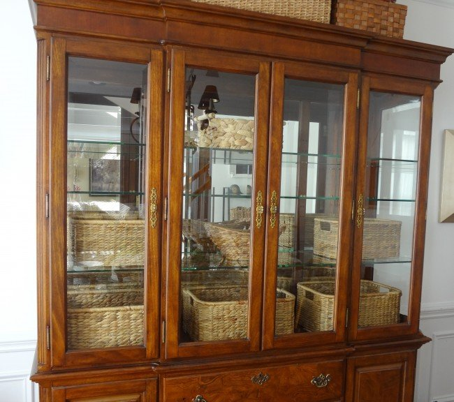 arrange baskets cabinet hutch