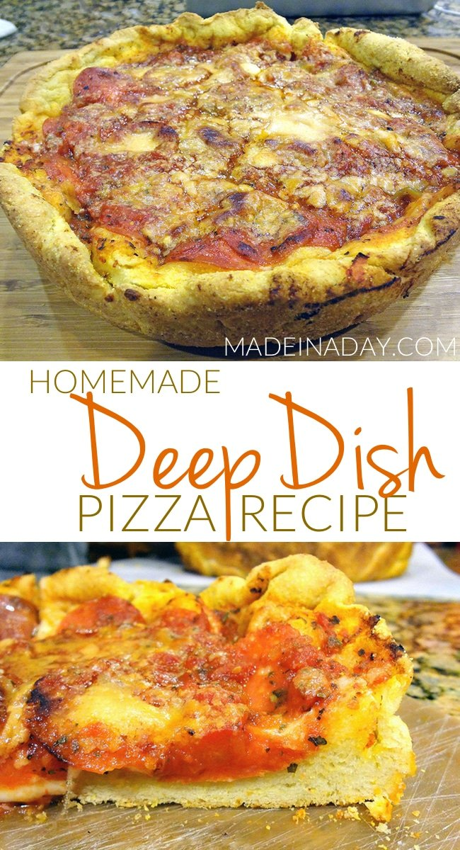 Chicago Style Deep Dish Pizza Recipe, Learn to make Deep Dish at home! The perfect combination of two great recipes from two great chefs on food shows, easy recipe, Spinach & mushroom deep dish, #Pizza #deepdish #panpizza #ChicagoStylePizza