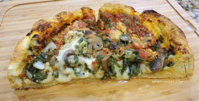 Homemade Deep Dish Pizza madeinaday.com