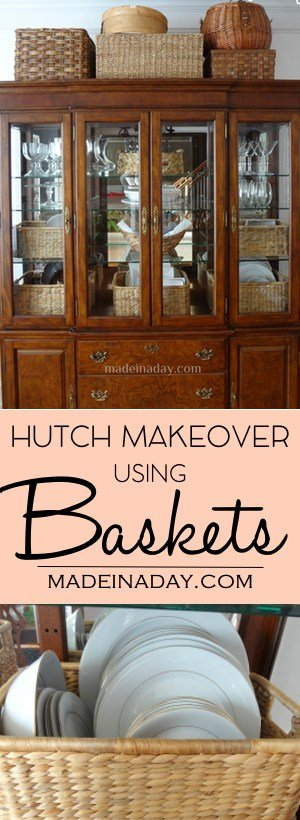 Makeover Your China Cabinet w/ Baskets! Afraid to makeover or paint a nice Hutch? Add pretty baskets instead! Styling and balancing the interior. See how I did it on the blog!  China Cabinet Styling