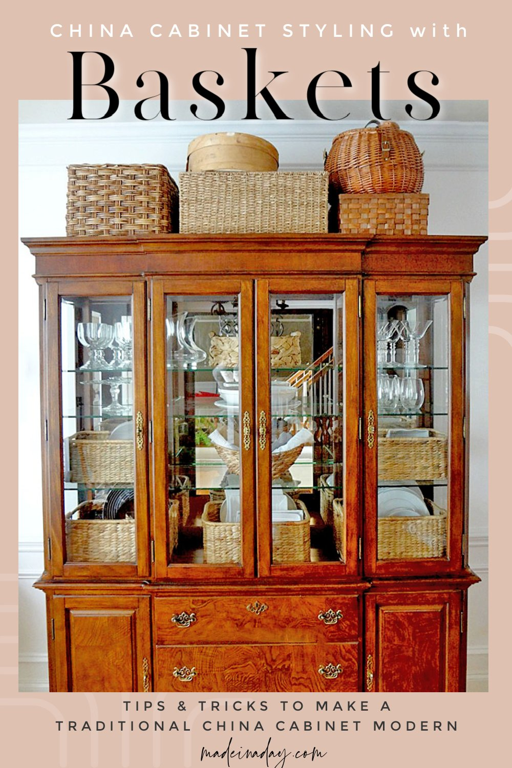 Design Hack! Display Dishes in China Cabinet with Baskets