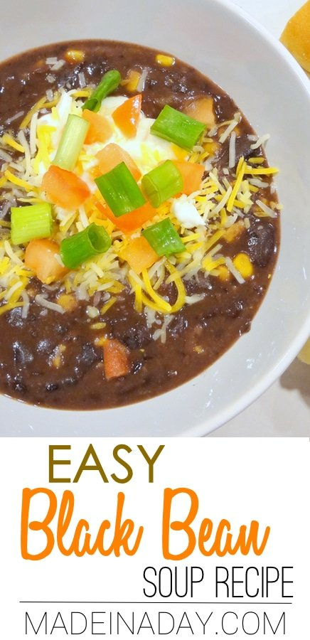 Simple Black Bean Soup Recipe,yummy black bean hearty soup. Salsa, chicken broth, corn & chili powder.