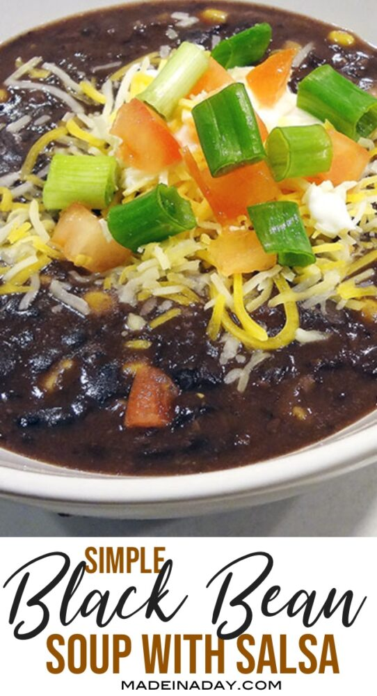 easy black bean soup with salsa, cuban black bean soup