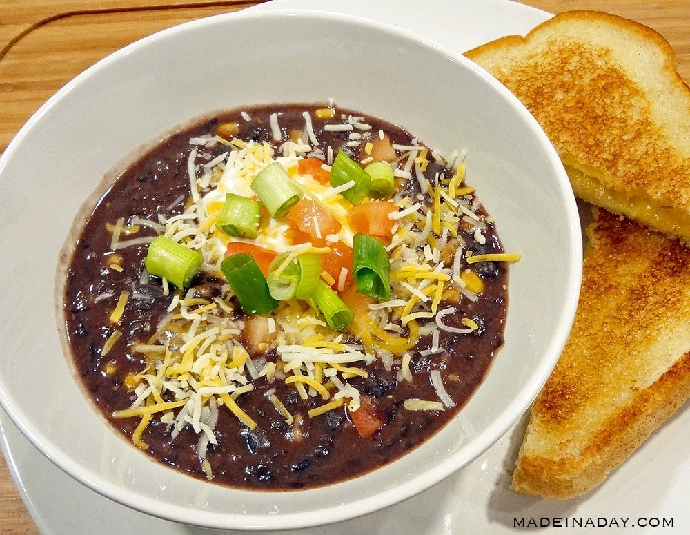 black bean soup, black bean soup with salsa,