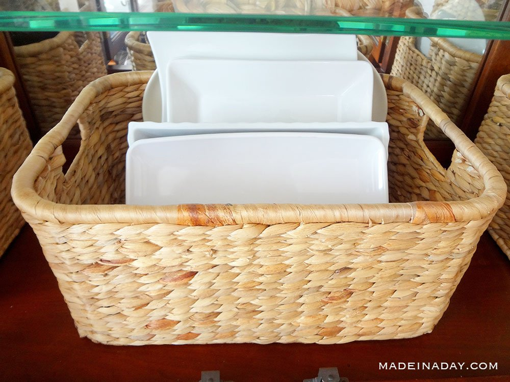 dishes in baskets for storage