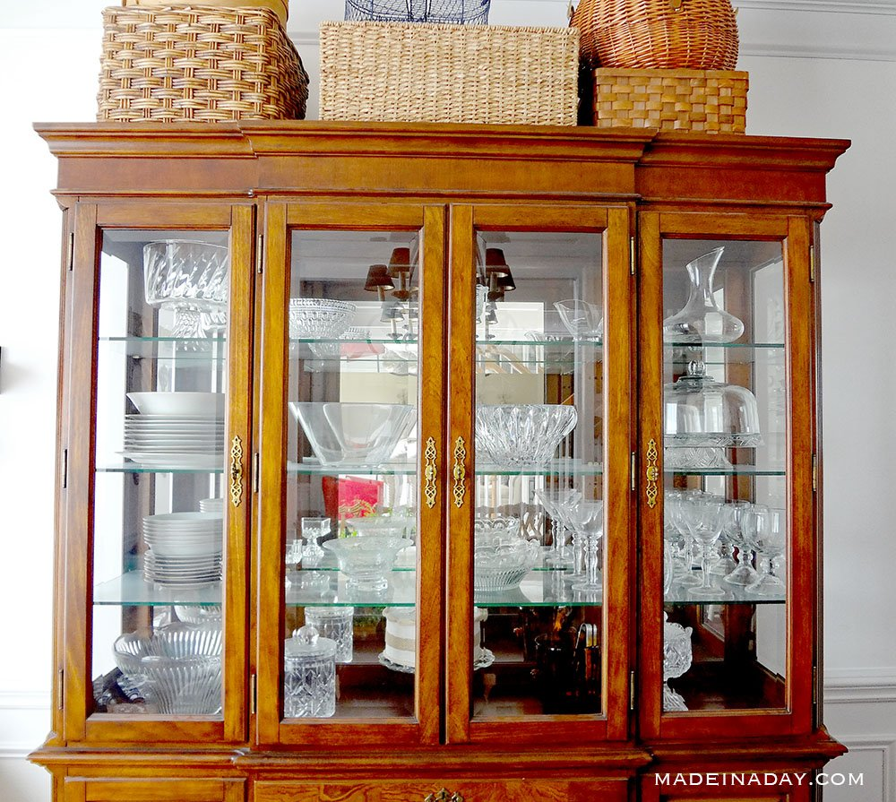 glass and crystal in china cabinet