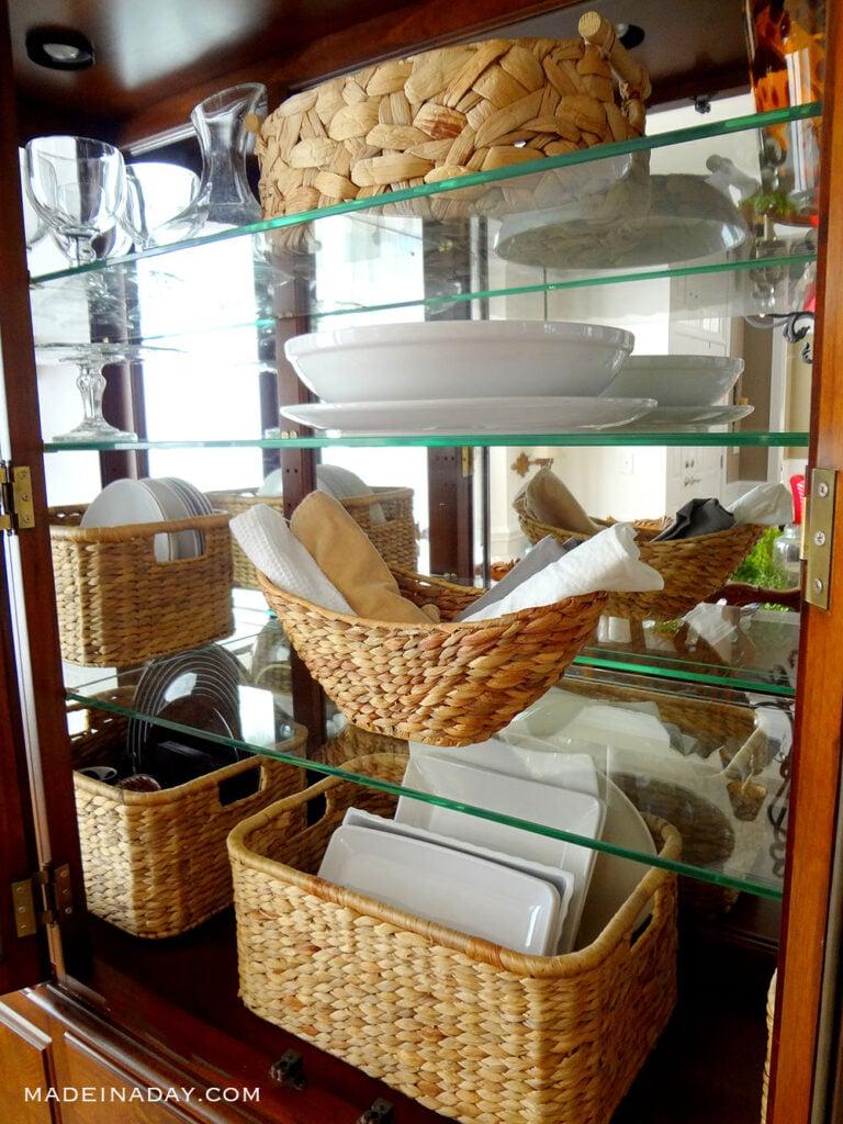 adding baskets to a china cabinet
