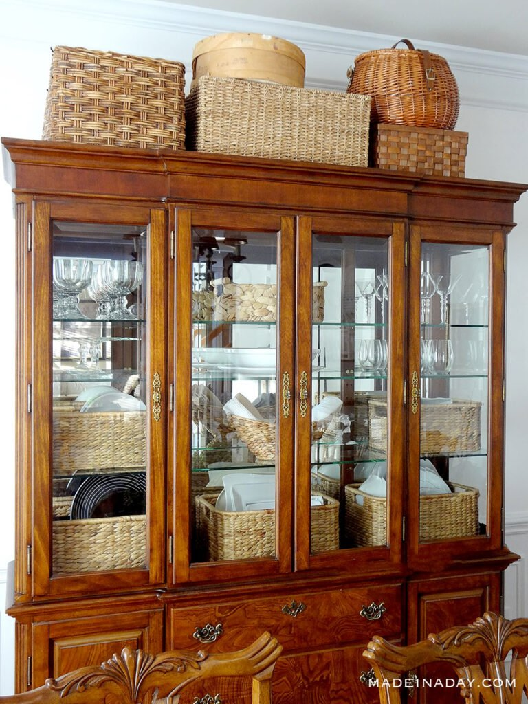 baskets in china cabinet
