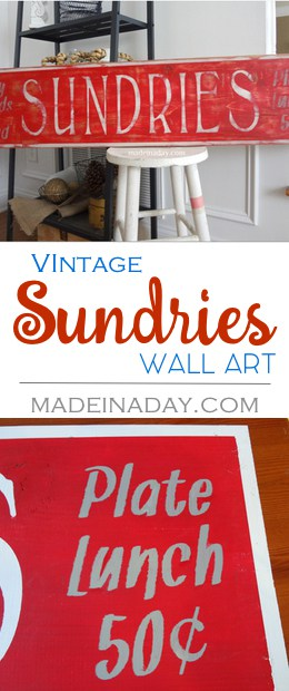 DIY #Vintage #Sundries #Sign, Silhouette Cameo Project, Stencil lettering, sanded calk paint