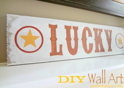 DIY Lucky Sign Wall Art 1