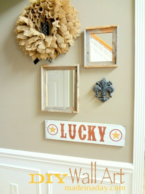 DIY Wall Art Lucky Sign Star madeinaday.com