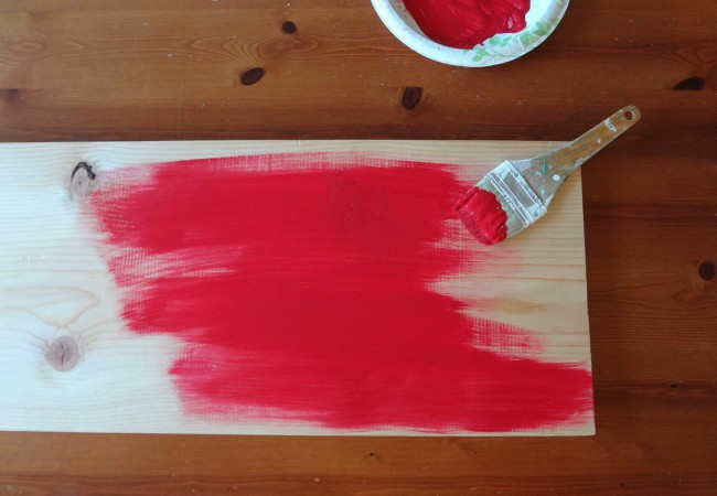 Paint wood with red acrylic paint
