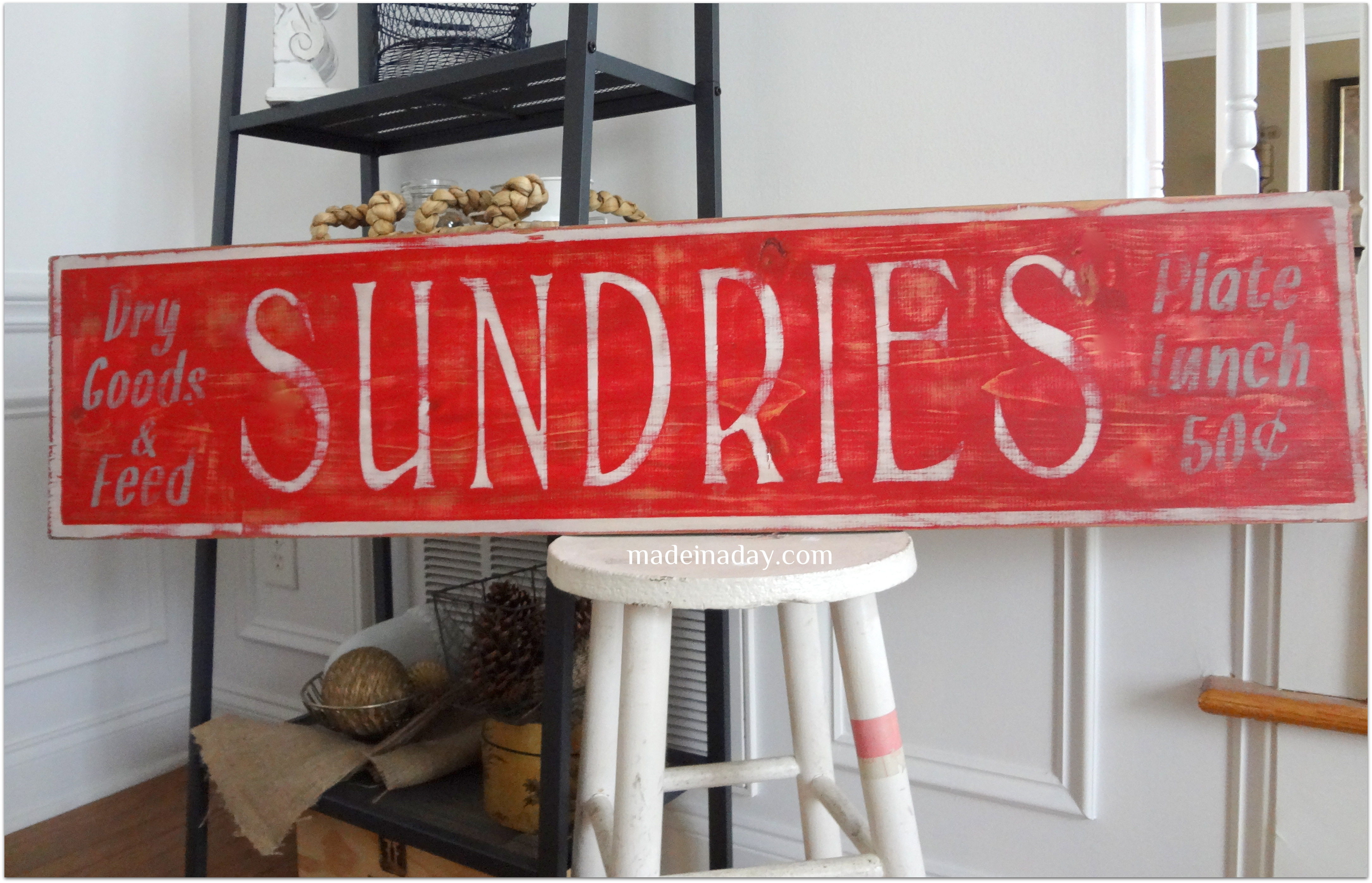 Vintage Sundries Sign | Made in a Day