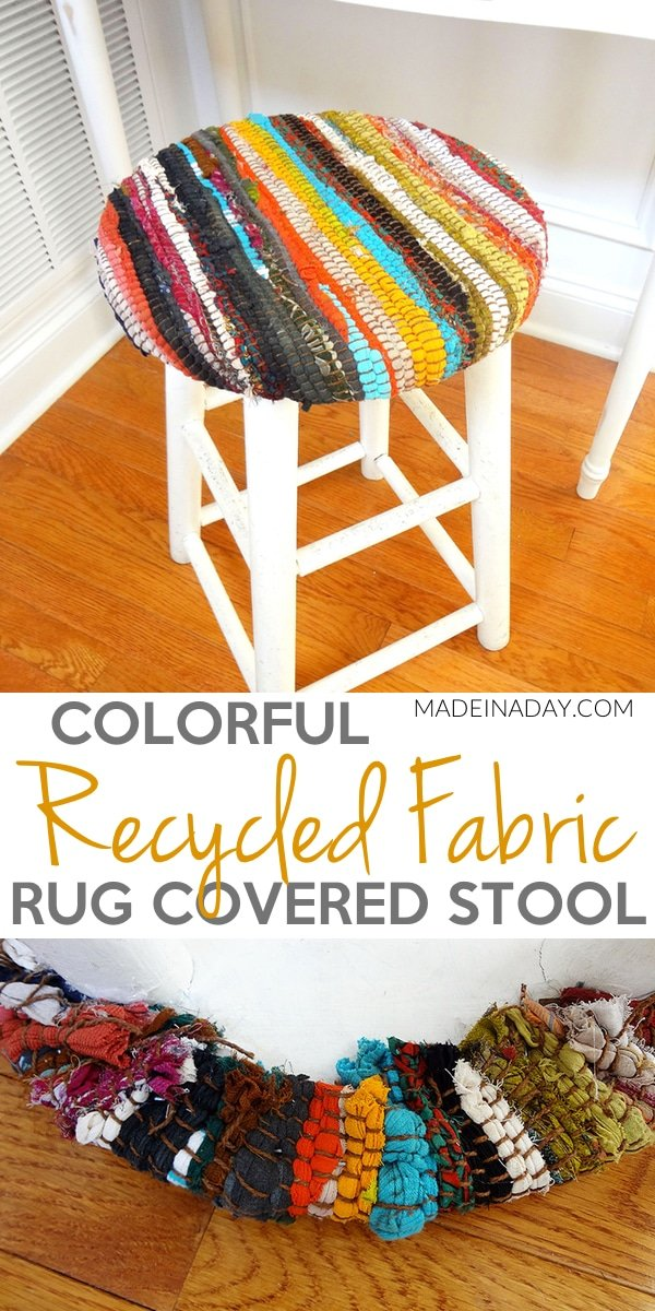Recycled Fabric Rug Stool, Pier 1 Knockoff, Cover an old stool with #recycled #fabric #rug. Rug on a stool, rug-covered stool,