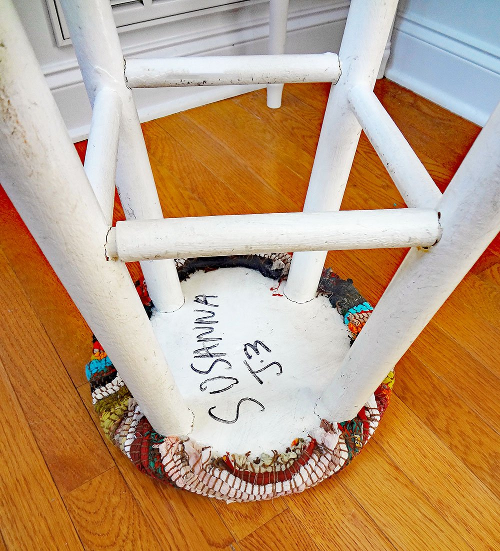 clean up the underside of stool