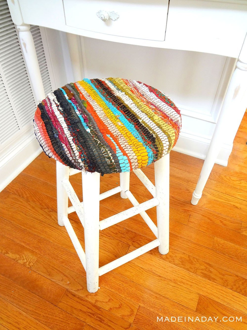 Recycled Fabric Stool Using a Rag Rug