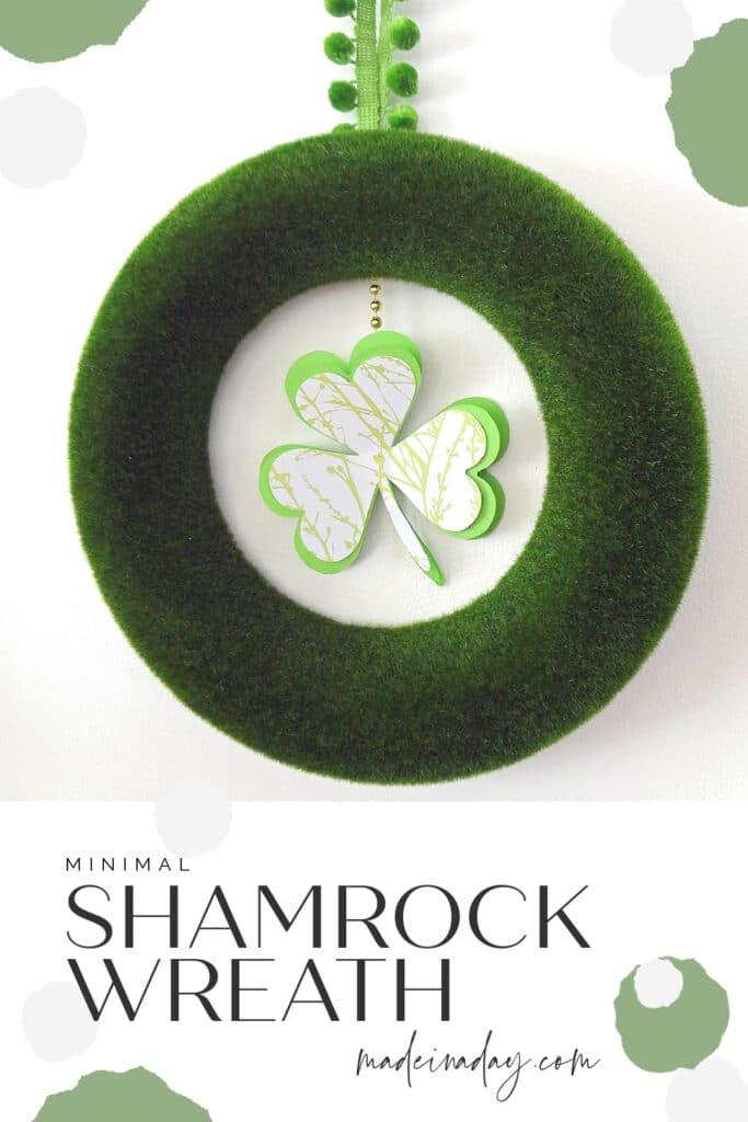 modern shamrock wreath for St.Patrick's Day, clover door hanger