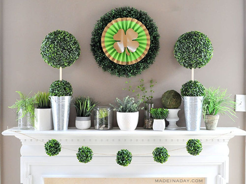 Boho Boxwood St Patricks Day Mantle