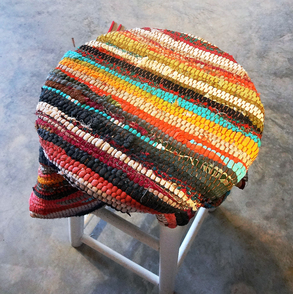 rag rug stool makeover