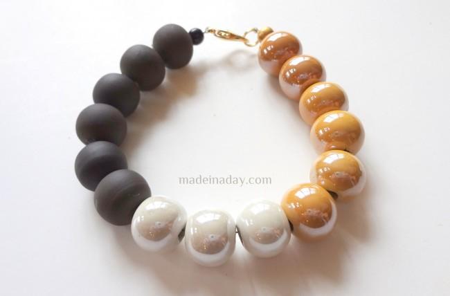DIY Grey & Yellow Bracelet