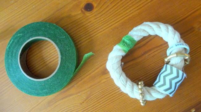 Add floral tape to bracelet