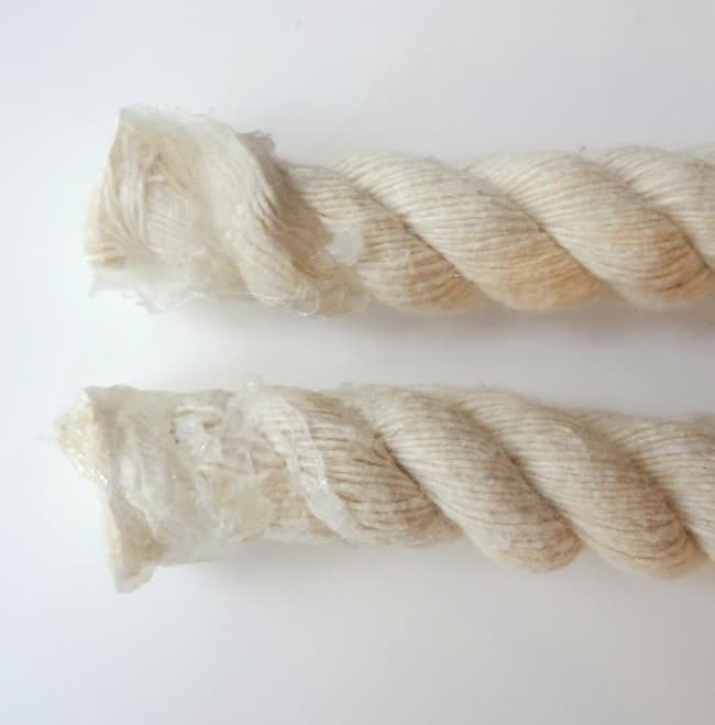 Add glue to the ends of rope