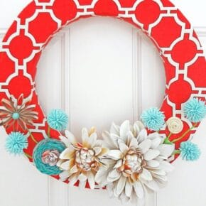 Red Canvas Spring Wreath 31
