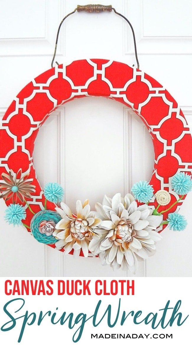 red coral spring wreath, canvas spring wreath, paper flower wreath