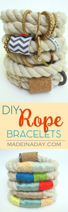 DIY Rope Bracelet, Make a Anthro inspired rope bracelet using upholstery cording and ring beads. Embroidery floss. See the tutorial