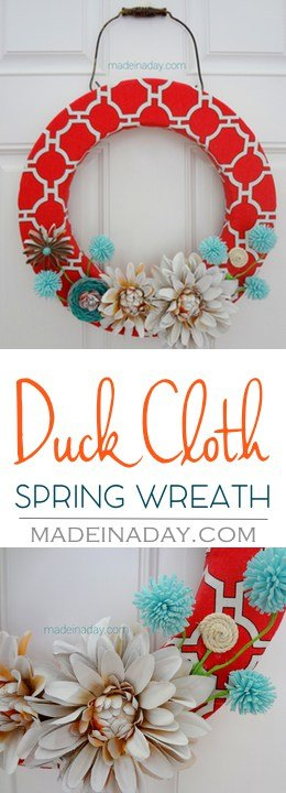 Duck Cloth Spring Wreath w/ spray painted flowers, paper tube flower, leather flower, tutorial on madeinaday.com