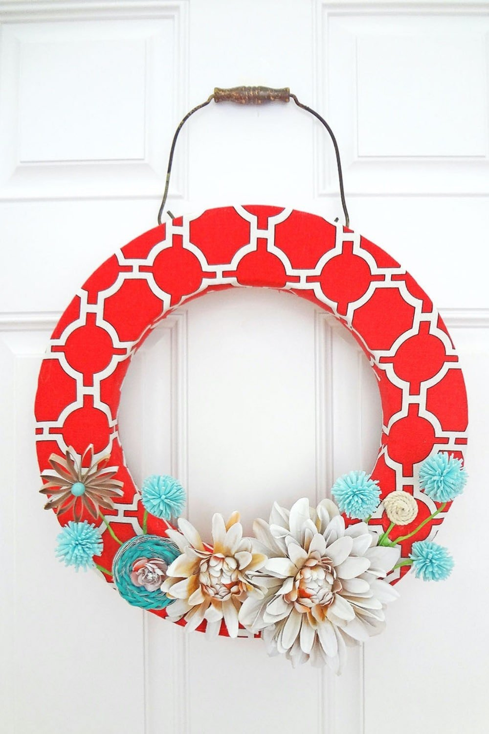 Red Canvas Spring Wreath