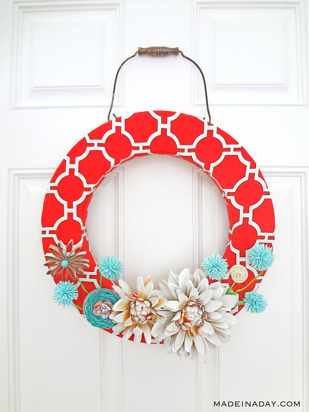 coral spring wreath, duck cloth spring wreath, canvas spring wreath, red teal spring wreath