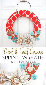 Red Canvas Spring Wreath 1