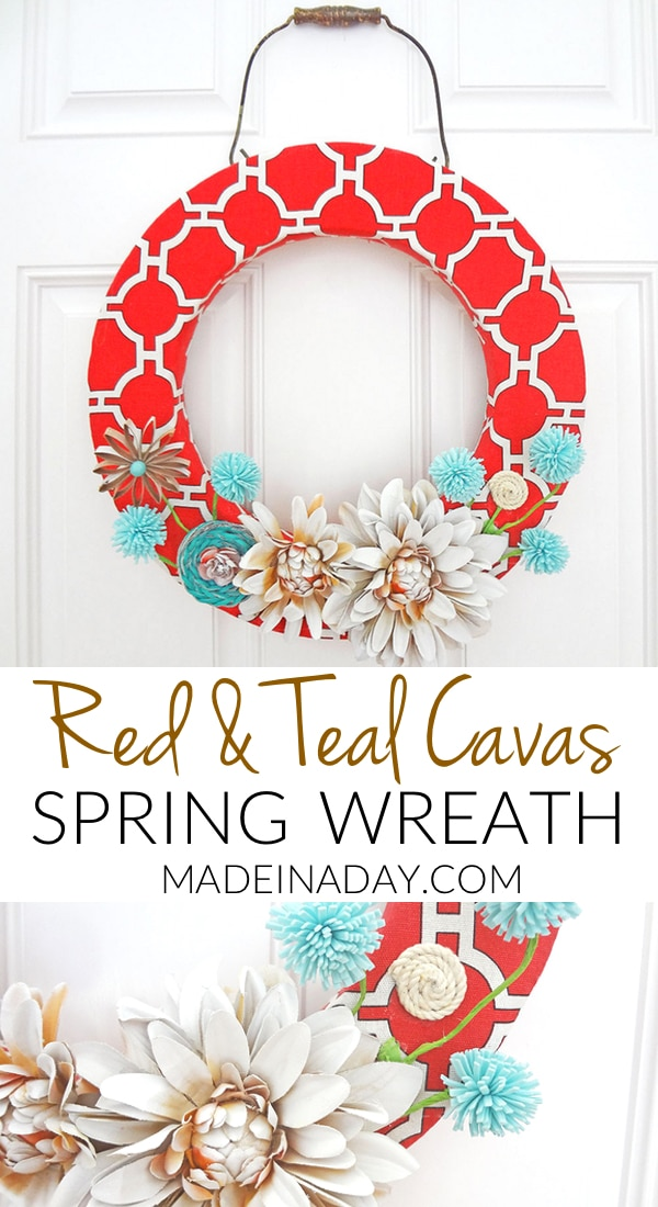 Red Canvas Spring Wreath 20