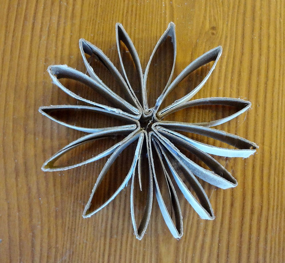 how to make a paper tube flower, how to make a cardboard flower
