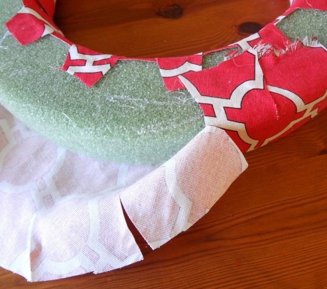 wrap outer edge of fabric and glue