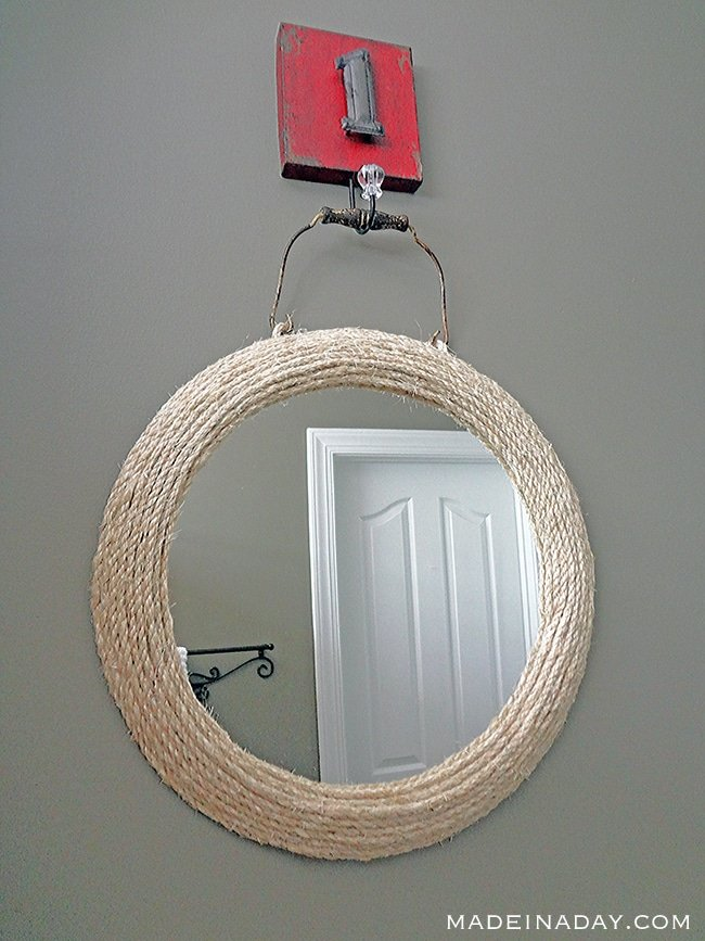 Jute Rope Mirror, Wrap and glue jute #rope around a framed mirror, nautical mirror, #ropemirror