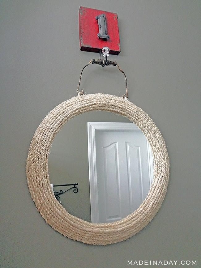 Jute Rope Mirror, Wrap and glue jute #rope around a framed mirror, nautical mirror, #ropemirror