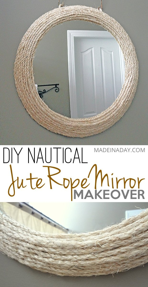 Jute Rope Mirror, Wrap and glue jute #rope around a framed mirror, Ballard Inspired, nautical mirror, #ropemirror