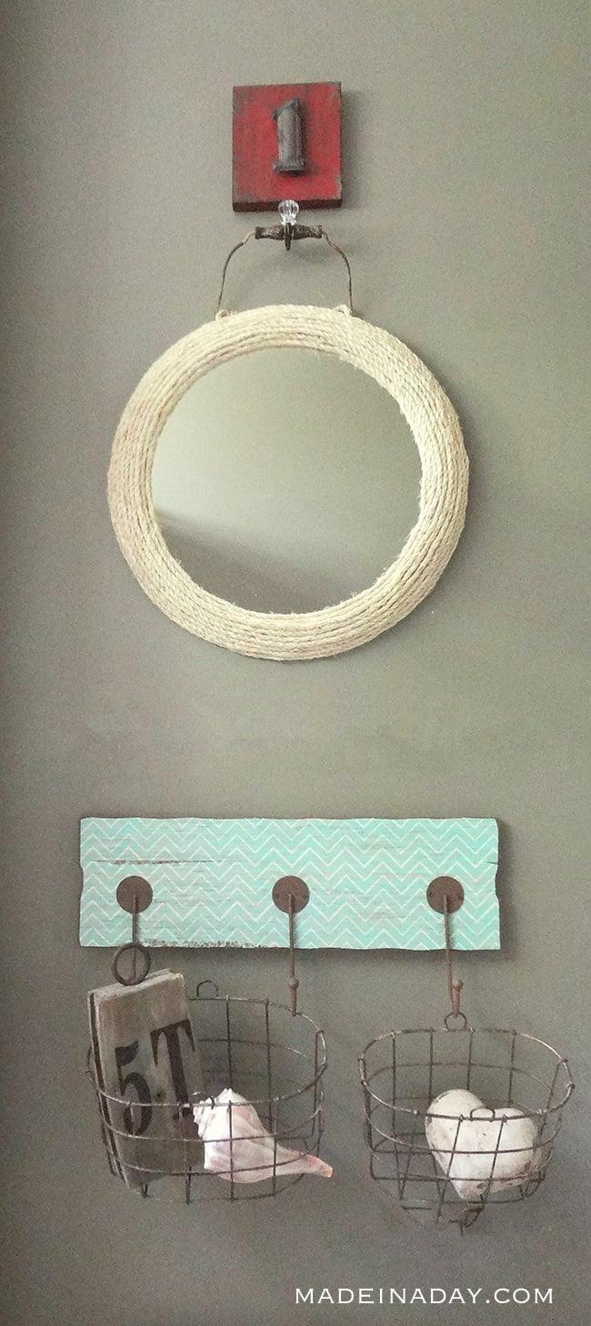 Jute Rope Mirror, Wrap jute #rope around a framed mirror, nautical mirror, #ropemirror