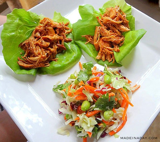 Honey Sesame Chicken Lettuce Wraps with Asian Slaw 2